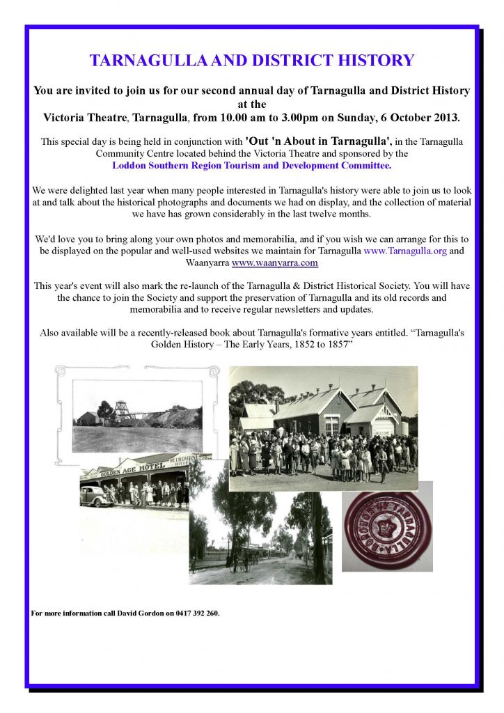 Tarnagulla & District History Group Flyer 2013