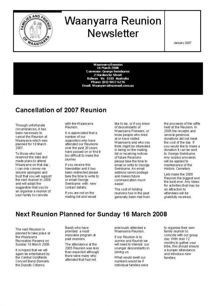 Waanyarra Renunion Newsletter - 30 January 2007_Page_1