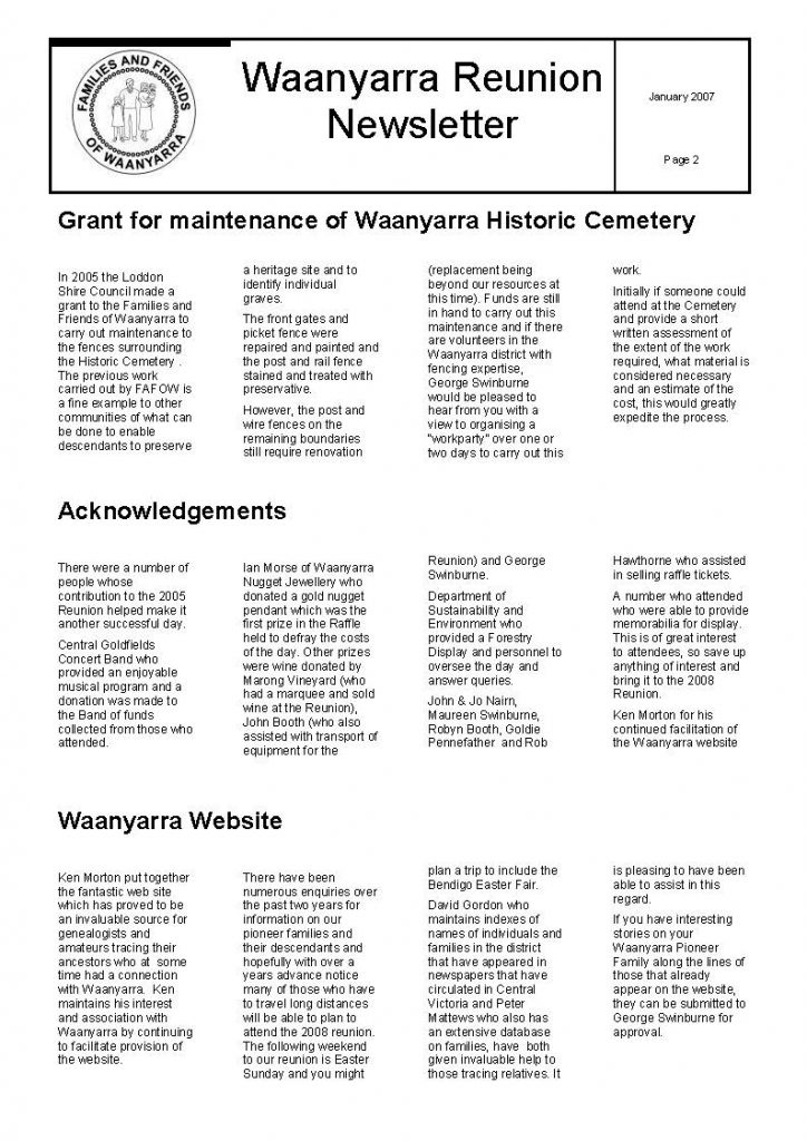 Waanyarra Renunion Newsletter - 30 January 2007_Page_2