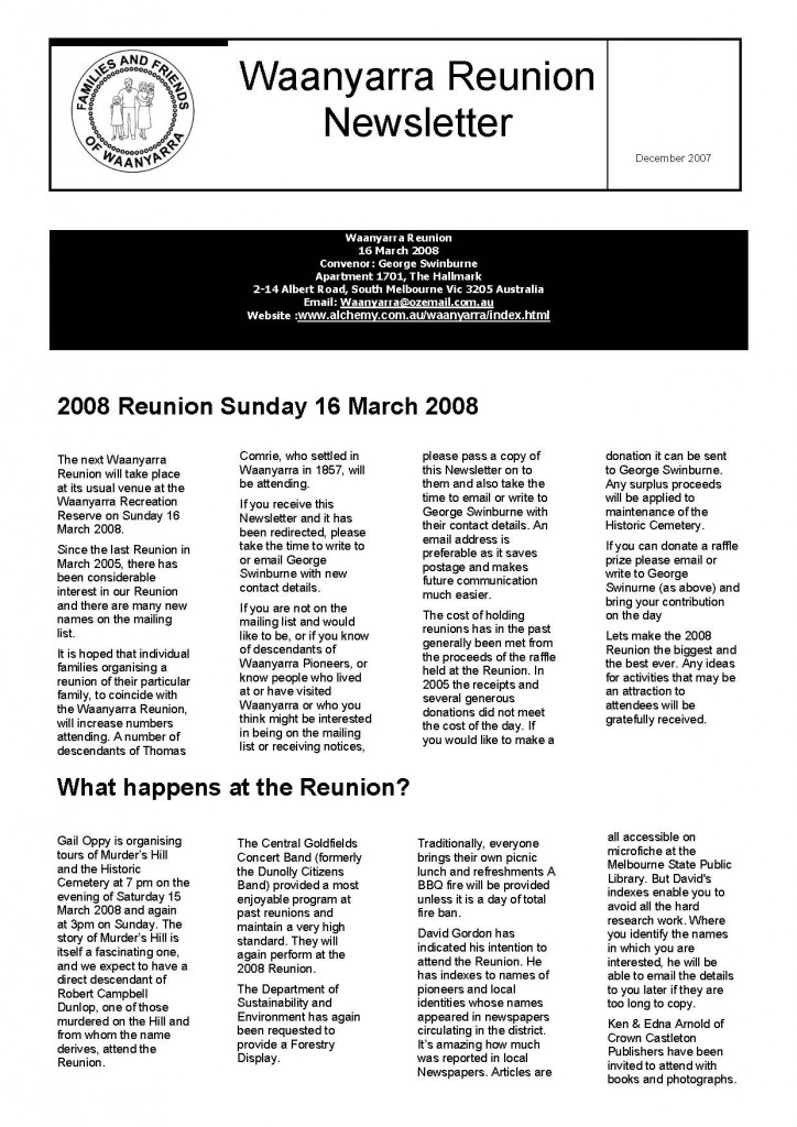 Waanyarra Reunion Newsletter December 2007_Page_1