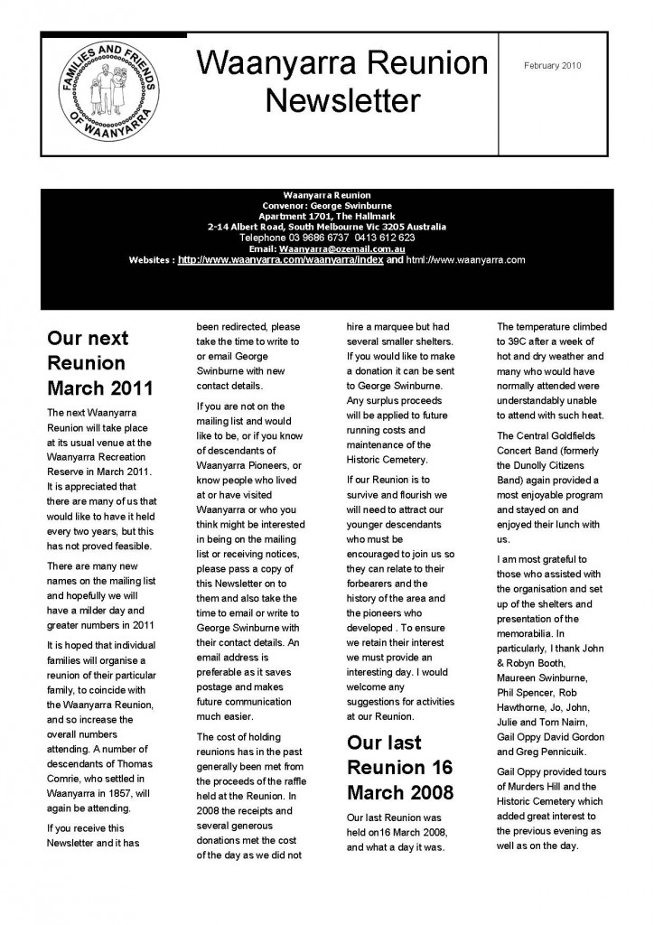 Waanyarra Reunion Newsletter February 2010_Page_1