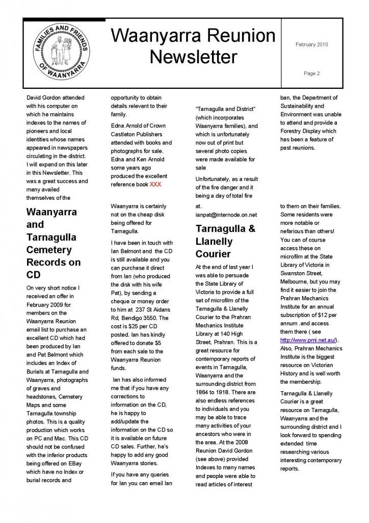Waanyarra Reunion Newsletter February 2010_Page_2