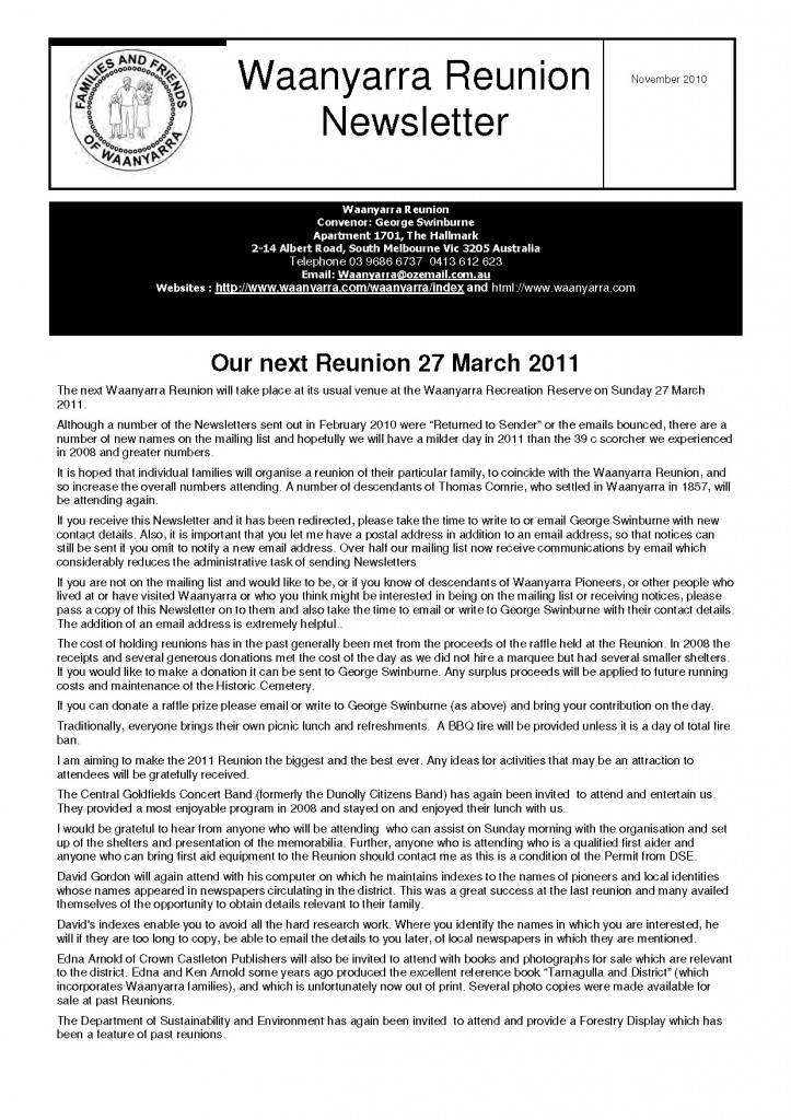 Waanyarra Reunion Newsletter November 2010lr_Page_1